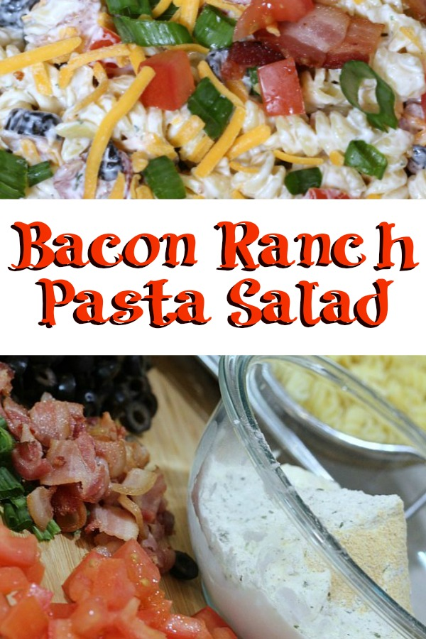 Easy Bacon Ranch Pasta Salad is perfect to whip up for any potluck or bbq get together! This is easy to make ahead of time and perfect with grilled food!