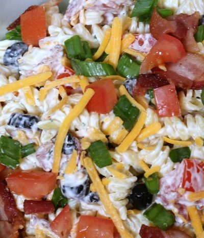 This Easy Bacon Ranch Pasta Salad is perfect to whip up for any potluck or bbq get together! Or it's the perfect frugal side to make up to have at home with a grilled dinner as well. Most the items in this are pantry items to stock up when they are on sale.