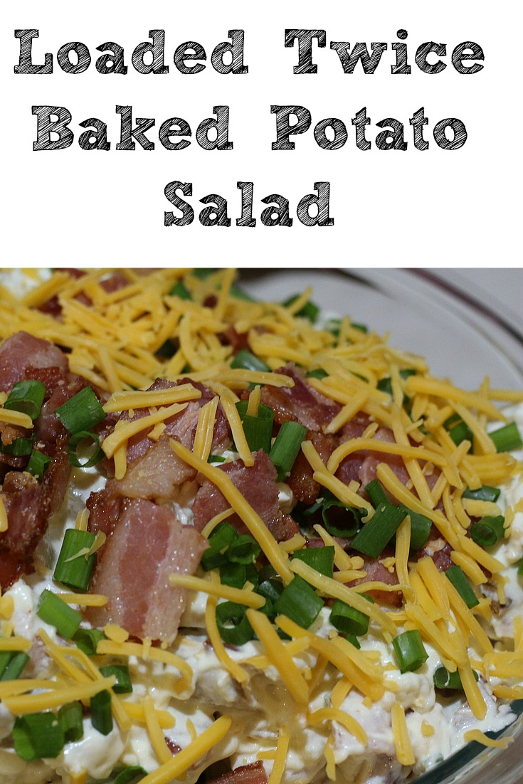 This Loaded Twice Baked Potato Salad is perfect to make to take to potlucks, get-togethers, and BBQs! So easy to make and the flavor is amazing with bacon, cheese, sour cream, and more in the mix for the perfect potato salad!