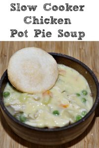 This Easy Delicious Slow Cooker Chicken Pot Pie Soup is the perfect soup to whip up in the crockpot! The bonus is the house will smell amazing all day while it cooks. Plus it's frugal because all ingredients can be found in cabinets, add in pie crust discs or biscuits to make it even better!