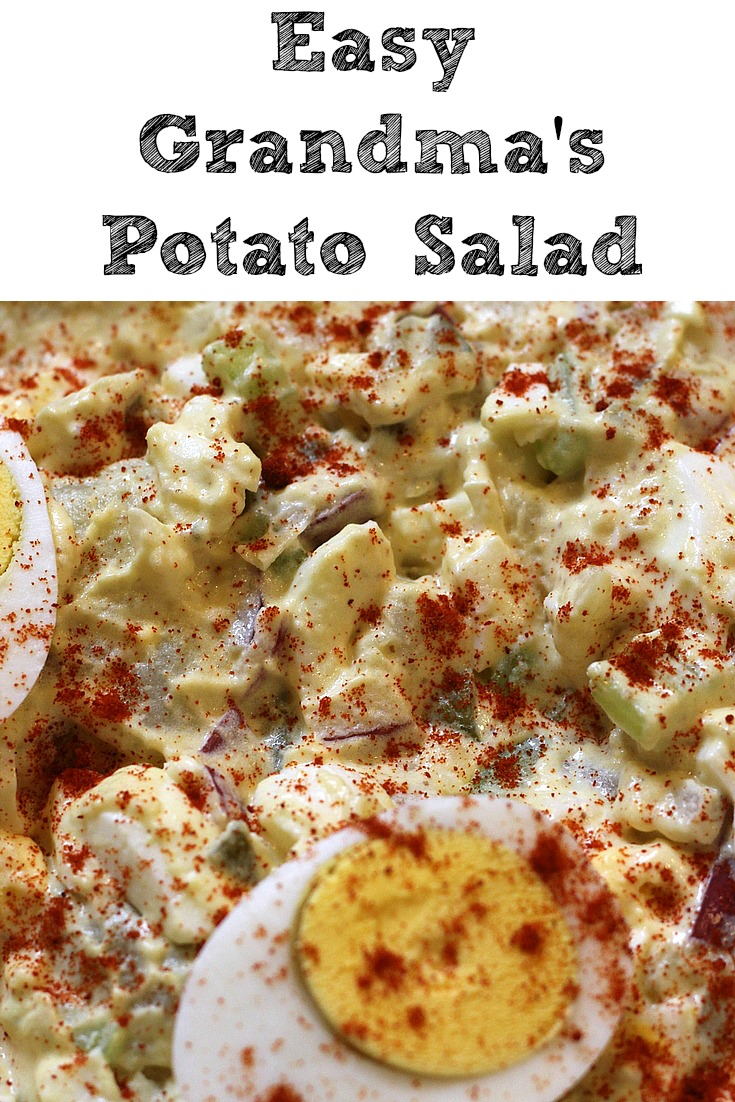 This Easy Grandma's Potato Salad will be a hit no matter where you take it! Easy enough to make at home as a side or to take to a cookout or potluck as a dish!! Plus you can change up ingredients to your own taste, also saves money over buying it in the deli case!