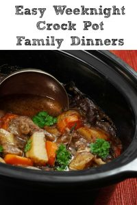 These Easy Weeknight Crock Pot Family Dinners are perfect for busy weeknights! With practice, homework, jobs, and just life dinner time can be crazy!! Plus planning ahead dinners can help to make your food budget stretch further and save money.