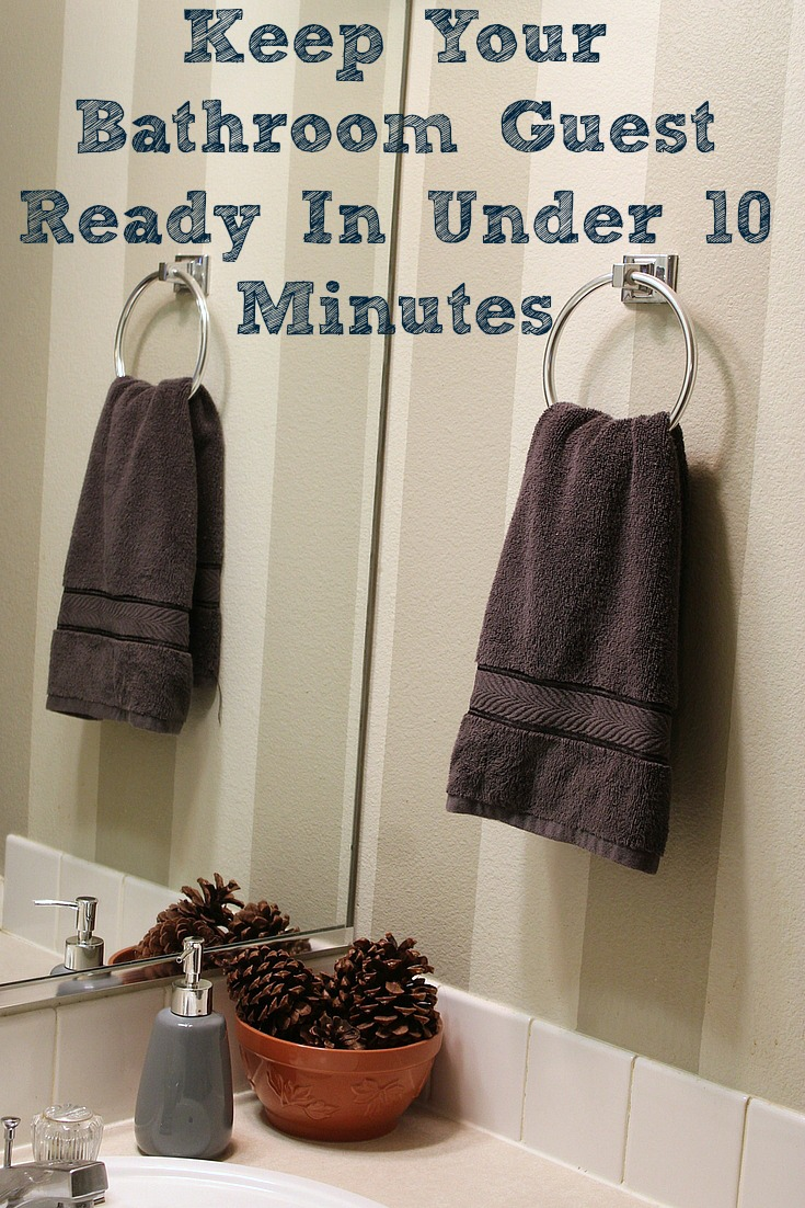 These tips will help you to Keep Your Bathroom Guest Ready In Under 10 Minutes. Sometimes having less than an hour's notice can make it hard to be ready for guests! Taking some extra steps and products in the bathroom can make it much more manageable to pull off!