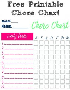 These free Printable Chore Charts is the perfect way to keep your kids focused and on track for getting their chores done! Plus you can change up the chores every week to find a groove that works for parents and kids!