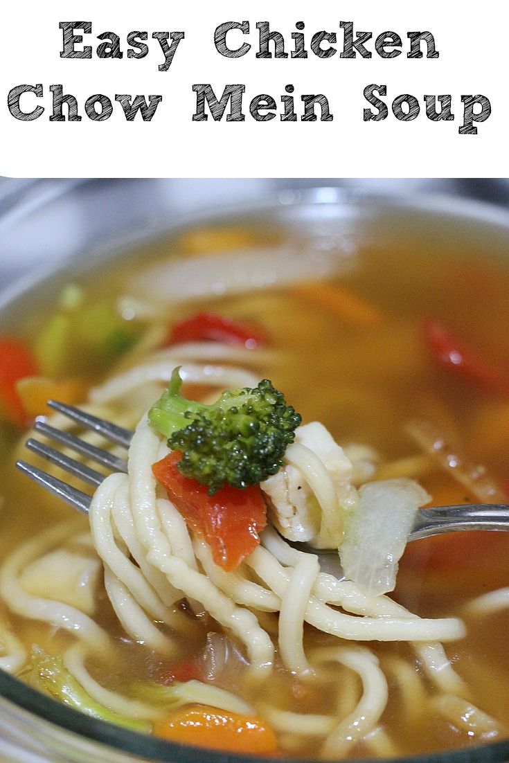 Easy Chicken Chow Mein Soup Recipe is perfect for making a quick soup! Using frozen chicken chow mein and broth makes it easy to have a comforting soup!