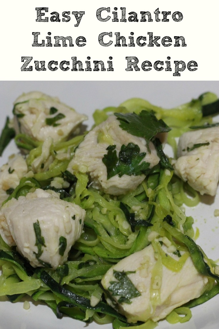 Cilantro Lime Chicken Zucchini Recipe is zero smartpoints on the weight watchers plan and family favorite! Using a spiralizer the zoodles are easy to make!