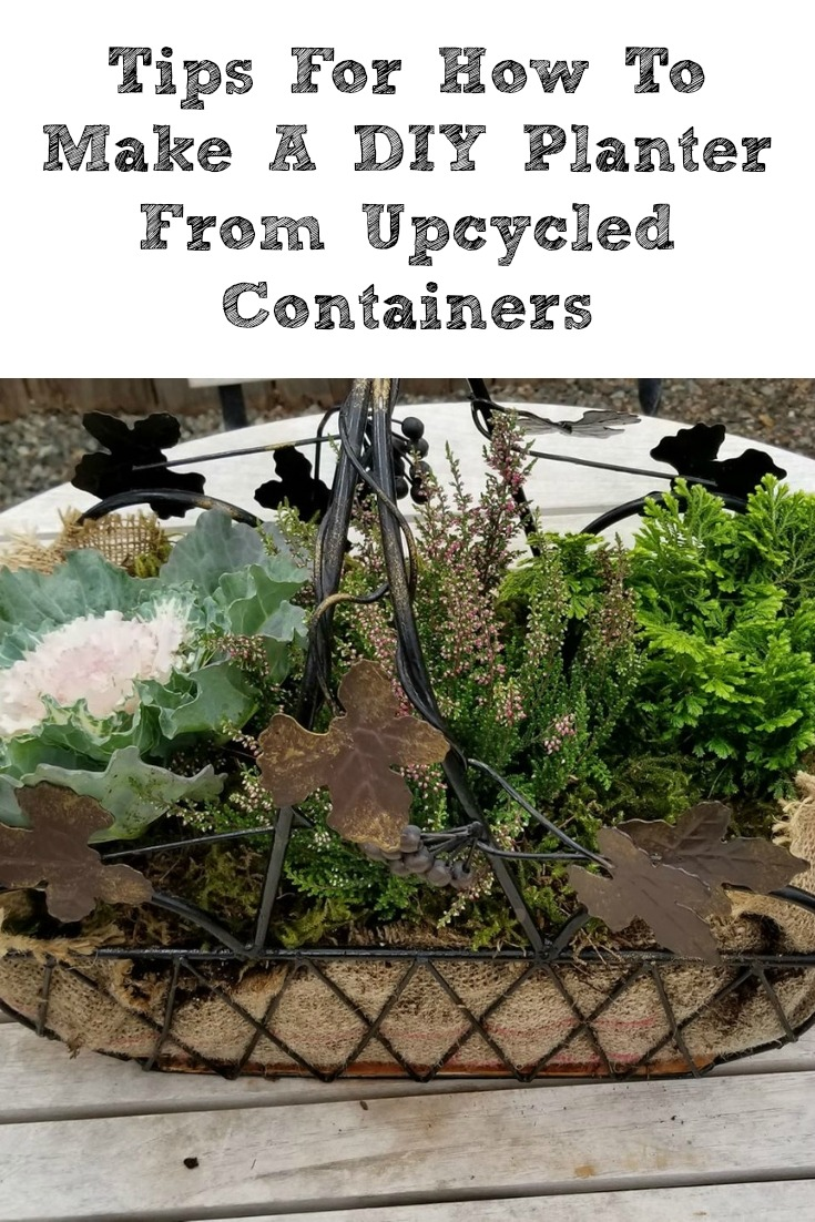 These Tips For How To Make A DIY Planter From Upcycled Containers are perfect for making gifts or home decor! DIY Succulent Planters are so easy to make!