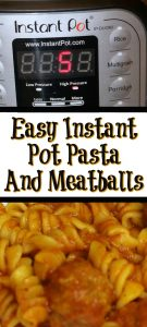 This Easy Instant Pot Pasta and Meatballs is perfect for weeknight dinners with busy schedules plus its a frugal dinner. Just dump in all the ingredients and let it cook for a perfect weeknight dinner that requires no effort at all.