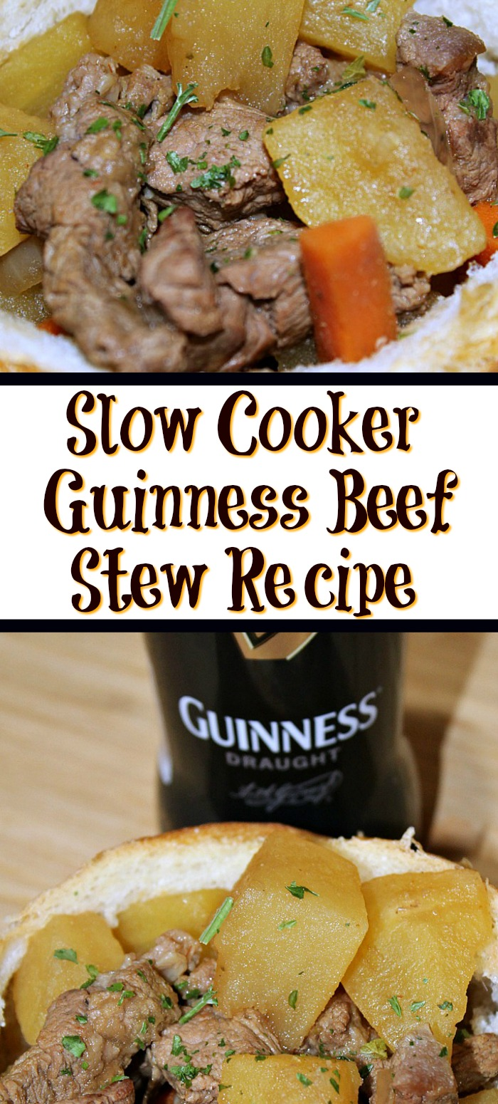 This Slow Cooker Guinness Beef Stew will be a huge hit for St Patricks day!! Plus it's a warm filling stew for any other winter night of the year!