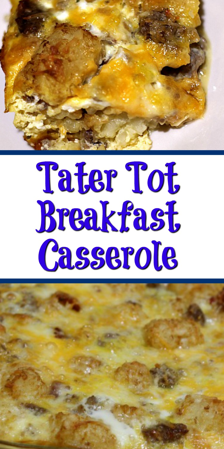 This Easy Tater Tot Breakfast Casserole Recipe is perfect for breakfast, brunch, or dinner! Loaded with tater tots, cheese, sausage, and eggs it's perfect!