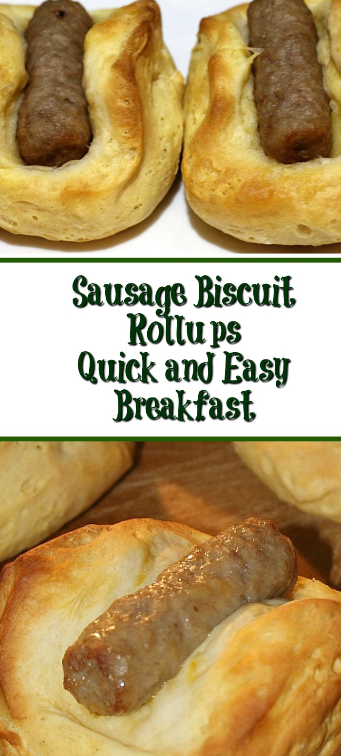 These Sausage Biscuit Rollups are easy to make for a brunch! Just use frozen sausage links and refrigerated biscuit dough to make this finger breakfast food.