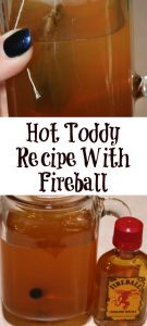 Any Hot Toddy Recipe can be made even better with the addition of a shot of Fireball! This is the perfect drink when sick or to spice up hot tea.