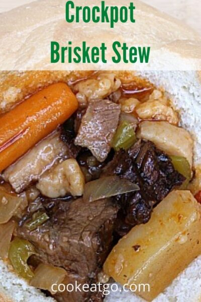 This Crockpot Brisket Stew Recipe is the perfect way to use up leftover smoked brisket! Allow to slow cook and serve in a bread bowl for a tasty dinner.