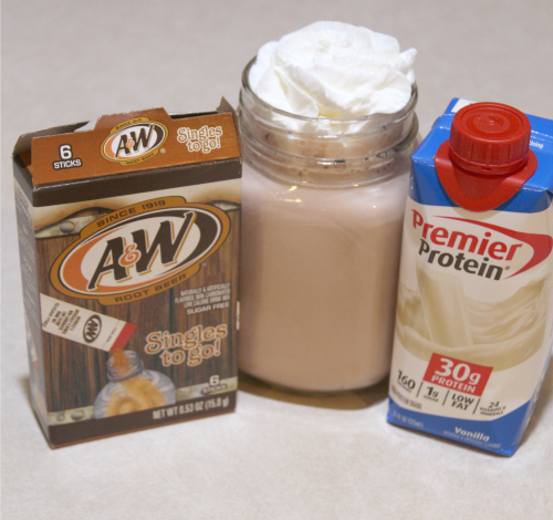 This Root Beer Protein Shake Recipe is the perfect way to satisfy a sweet tooth! Plus only three ingredients to stay on track!