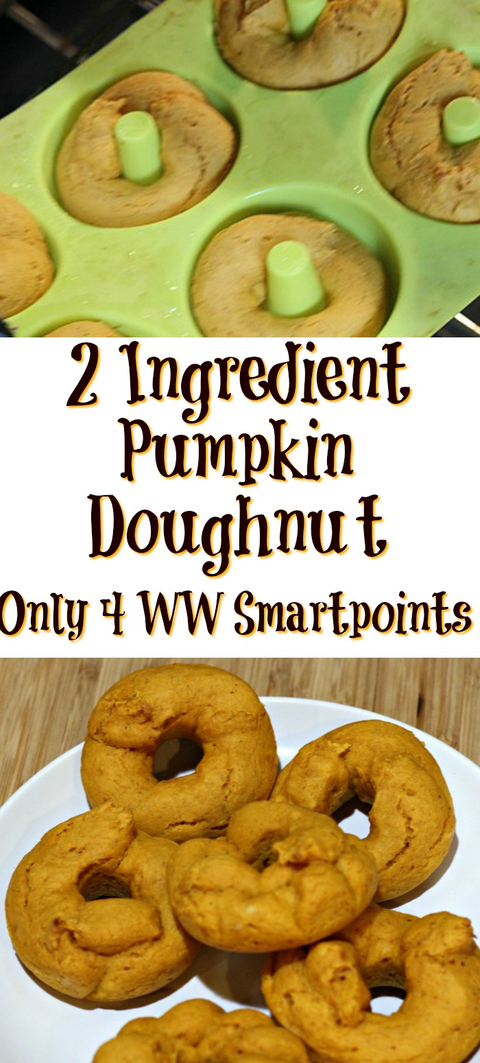 This 2 Ingredient Pumpkin Doughnut Recipe is so easy to make and also is low Weight Watchers Freestyle Smartpoints! Mix together and then bake!