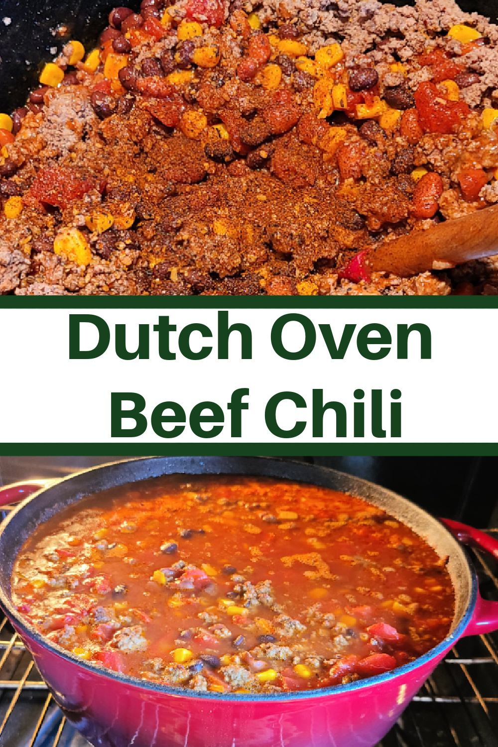 This Dutch oven Beef Chili is a huge hit with the whole family!! Just dump everything in and cook on low for a cozy comfort dinner. Easy to change up the spices and also will warm up the house with the smell of this amazing comfort food dinner!