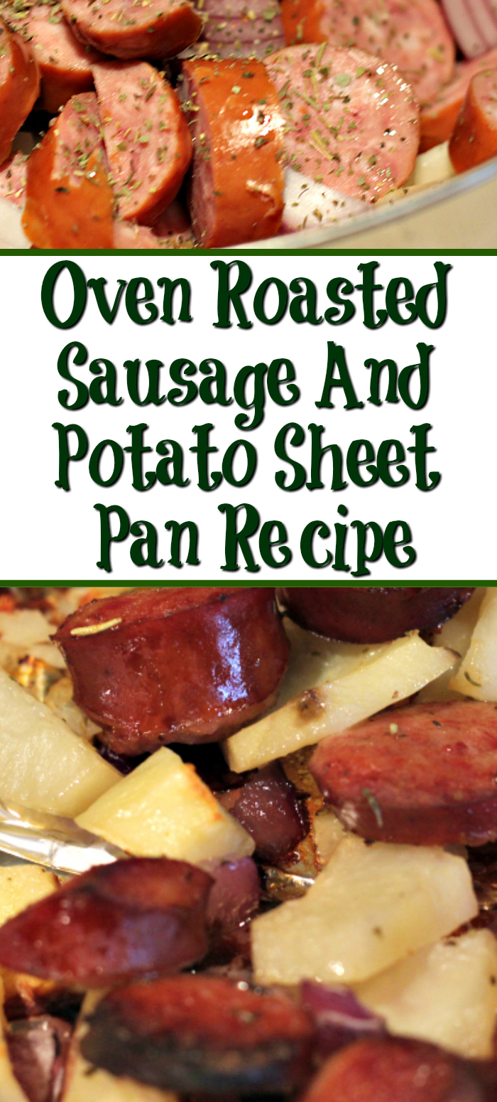 This Oven Roasted Sausage And Potato Sheet Pan is perfect for a quick weeknight dinner! With only three ingredients chop, season, and bake it up!