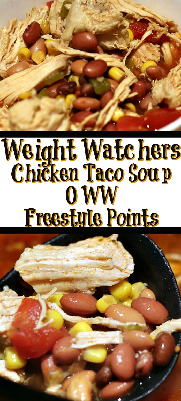 This Weight Watchers Chicken Taco Soup Recipe is one your whole family will love! Plus it works out to zero freestyle points and low smartpoints!
