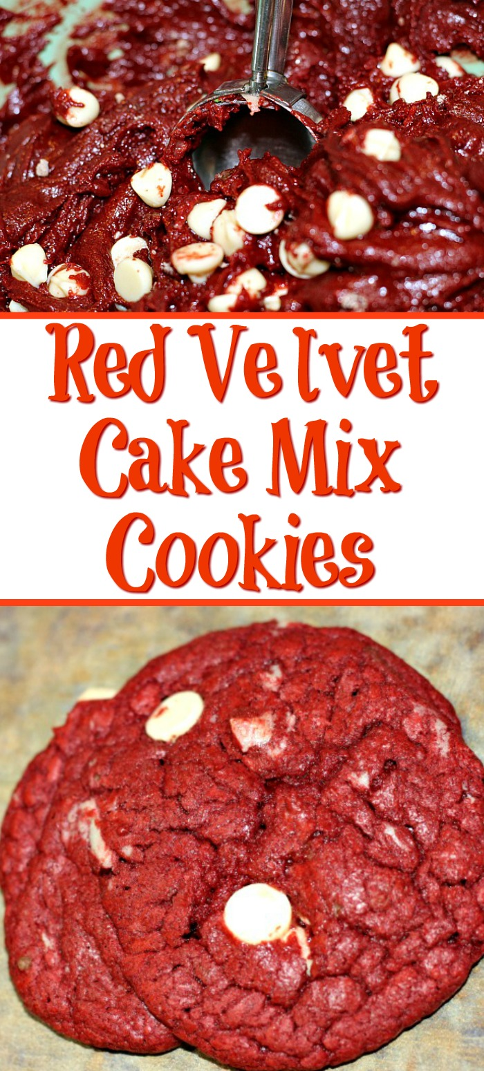 This Red Velvet Cake Mix Cookies Recipe makes amazing cookies out of four ingredients! Mix together and bake for a tasty easy cookie to enjoy!