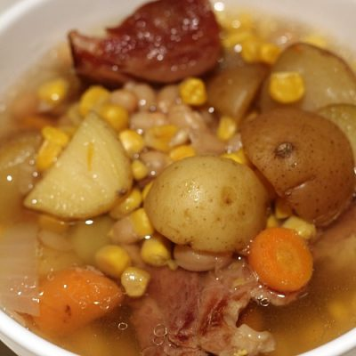 This Crock Pot Ham and Bean Soup Recipe is perfect to use up leftover holiday ham and the bone! Allow to slow cook for flavor and enjoy!