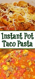 This Instant Pot Taco Pasta Recipe is an easy recipe to make for dinner!! Drop the ingredients in the Instant Pot for a great tasting dinner!