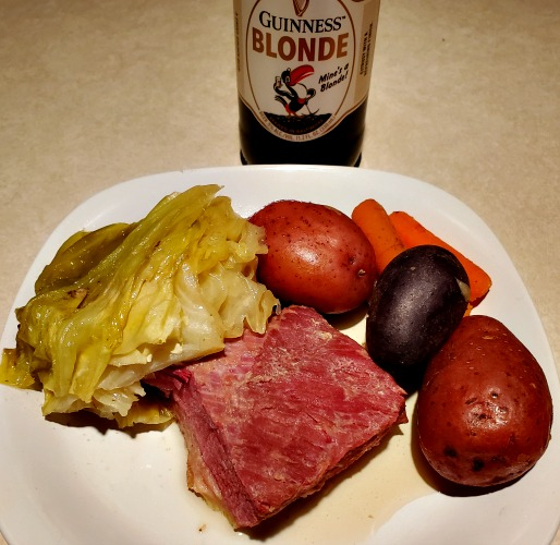 Guinness Crockpot Corned Beef And Cabbage Recipe is perfect to make for St Patricks day! The Guinness Blonde Ale adds an amazing flavor to the dinner!
