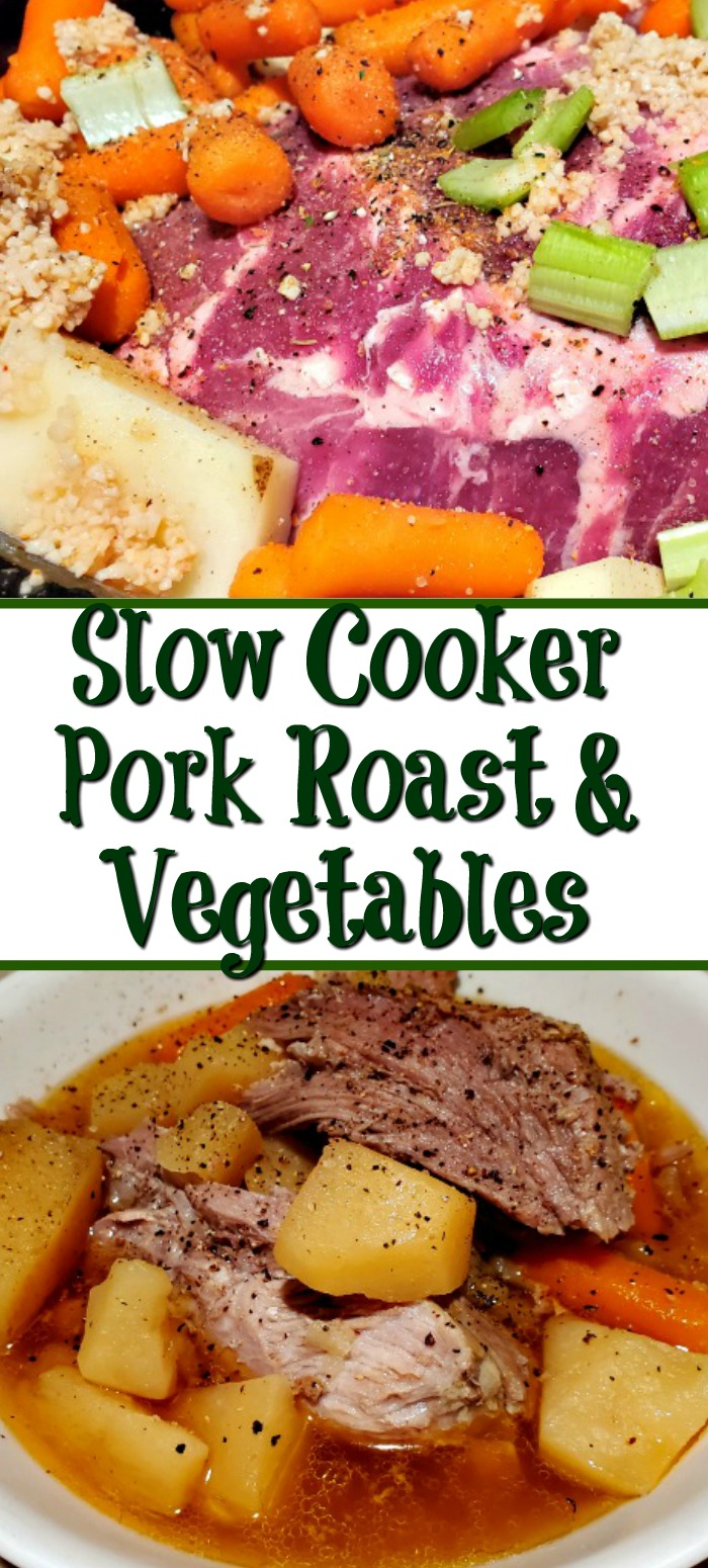 Slow Cooker Pork Roast With Vegetables Recipe is the perfect homemade comfort food! Drop everything in the crockpot and allow it to slow cook all day long.