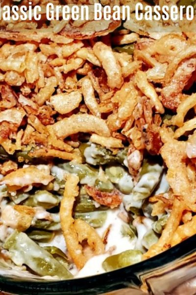 Green Bean Casserole Recipe is perfect for any holiday dinners! Plus it is so easy and made from pantry staples as well! No prep work just mix and bake!