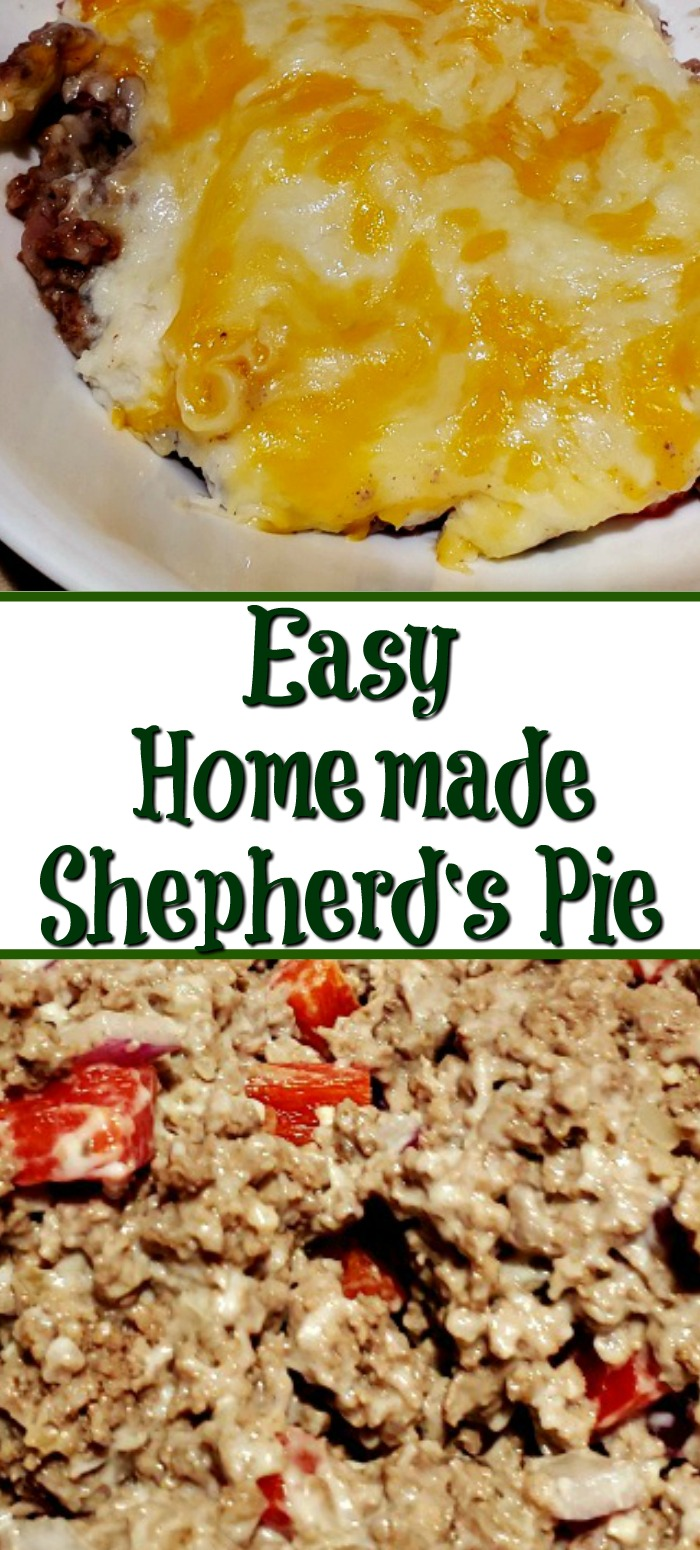 This Easy Homemade Shepherd's Pie Recipe is the perfect comfort food to make at home! Use ground beef and top with mashed potatoes and cheese! Perfect for St Patrick's Day!