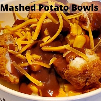 These Homemade Chicken Mashed Potato Bowls are the perfect copy cat KFC potato bowls! So easy to make at home for a fraction of the price as well!