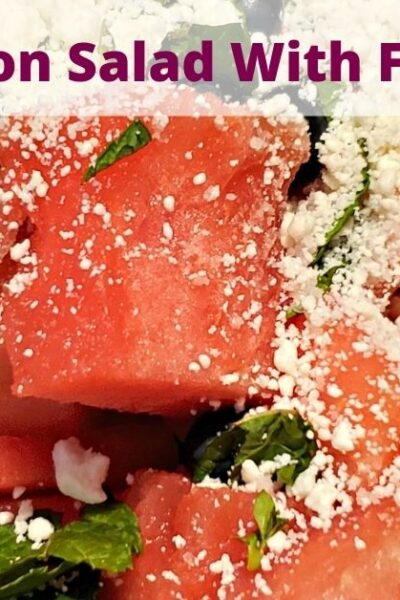This Watermelon Salad With Feta Recipe is perfect to take to BBQs or potlucks! Add in some balsamic vinegar, mint, and feta cheese for amazing flavor!