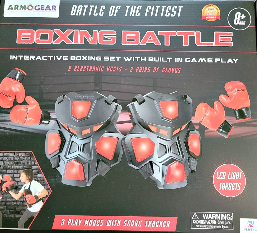 ArmoGear Boxing Battle is the perfect gift for active kids! The headgear and gloves make punching the vest harmless, and a great workout!