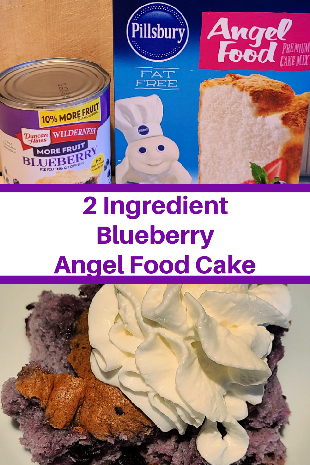 This 2 Ingredient Blueberry Angel Food Cake Recipe is so easy to make! This gooey dessert works out to low My WW Smartpoints as well! 2 Ingredient Desserts are so easy to make!