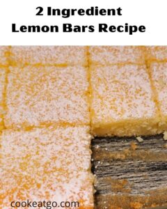 This easy 2 Ingredient Lemon Bars Recipe uses just a lemon pie filling and angel food cake mix! Top with a bit of powdered sugar and serve! These are easy to make for a brunch or a potluck as well!! No need to measure or use eggs to make!